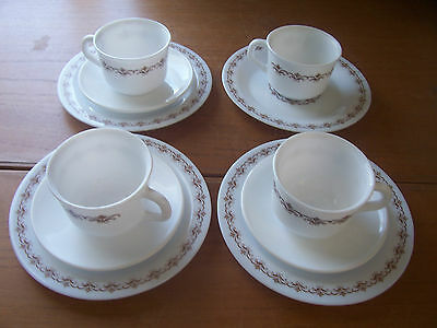 Partial Set of 4 French Arcopal 70's Milk Glass Coffee Cup,Plate & Saucer Trios