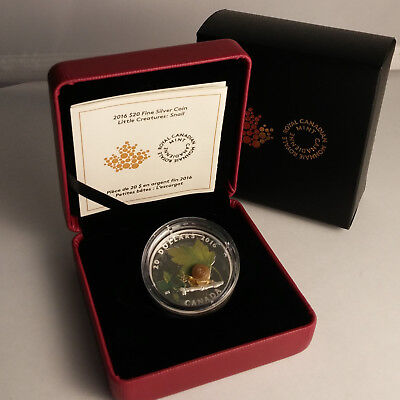 Canada 2016 Proof Little Creatures - Snail $20 - 99.99% Fine Silver Coin