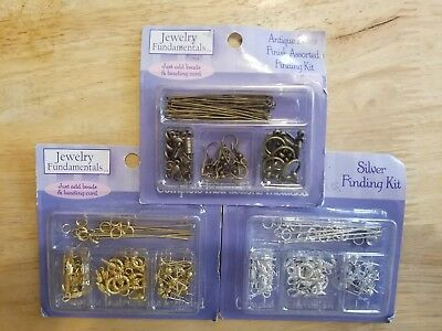 Lot of 3 jewelry Finding kits/antique brass/gold/silver