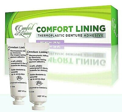 2 Lot Comfort Lining Thermoplastic Denture Adhesive 28 grams each - Cushioning