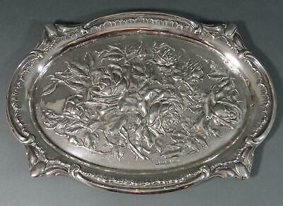 Antique 1907 Birmingham Sterling Silver Oval Finely Detailed Repousse Rose Tray