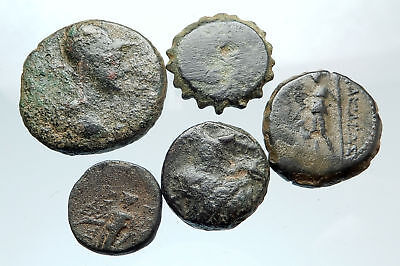 AUTHENTIC Ancient 400BC-250AD GREEK - 5 COINS Group Lot KIT Collection i74923