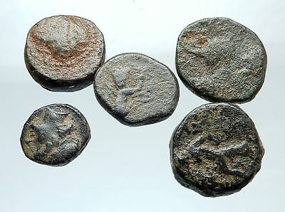 AUTHENTIC Ancient 400BC-250AD GREEK - 5 COINS Group Lot KIT Collection i74921