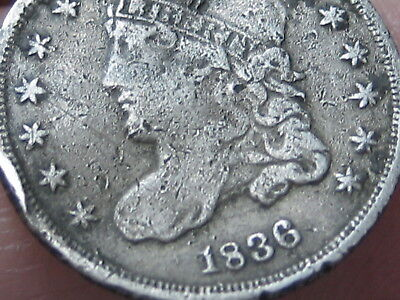 1836 Silver Capped Bust Half Dime- Small 5C, Fine/VF Details