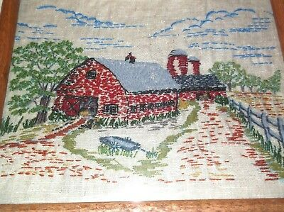 VTG FRAMED HAND STITCHED NEEDLEWORK CREWEL YARN ART PICTURE Barn Silo Field Cart