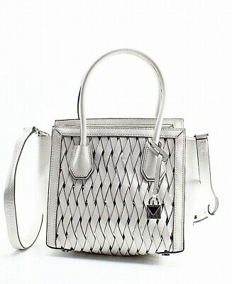 97b2a74ee88328 Michael Kors NEW White Silver Mercer Medium Crossbody Leather Handbag $298-  #036