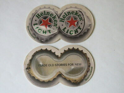 Double Beer Coaster ~ HEINEKEN Light ~ Dutch Brewery ~Trade Old Stories For New