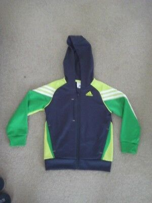 "Authentic Boys Adidas """"Climalite"""" Hooded Jacket Size5-6YRS --NAVY & GREEN -vgc"