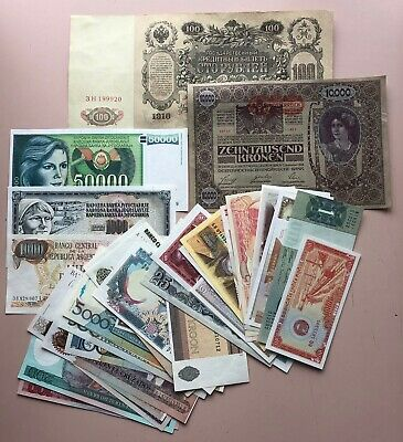 WORLD BANKNOTES ~ LOT OF 33 ~ UNCIRCULATED incl. Russia 1910 and Austria 1918
