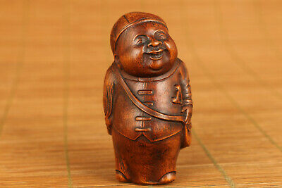 chinese old antique boxwood hand carved figure statue netsuke hand piece