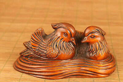Antique chinese old boxwood hand carved mandarin duck love statue netsuke deco