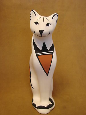 Native American Acoma Pottery Standing Cat Sculpture by S. Chino