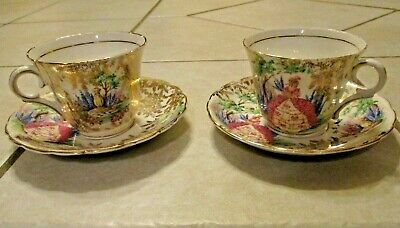 Vintage Colclough Teacups & Saucers Southern Bell Set of 2 England