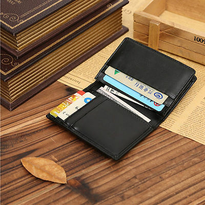 Genuine Leather Wallet Bifold ID Credit Card Holder Men's Mini Purse Money Clip
