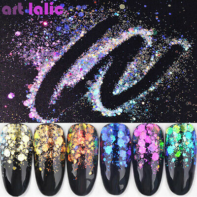 Nail Art Holographic Sequins Mermaid Hexagon Flakes Slice Glitter Powder Decor