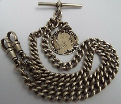 Superb All Original English Antique 1919 Sterling Silver Double Albert Chain