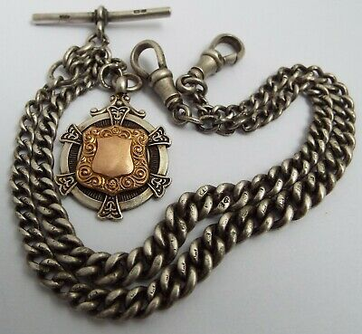 Lovely English Antique 1915 Solid Sterling Silver Double Albert Chain & Medal