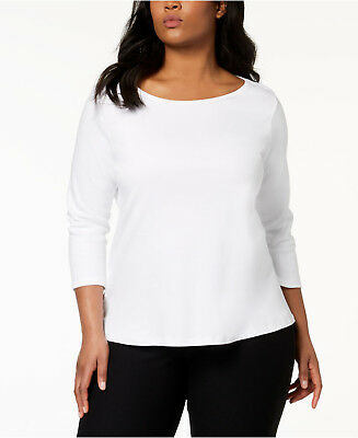 4a72a790f90a5 Eileen Fisher Plus Size White Three Quarter Sleeve Ballet Neck Top Tee 3X