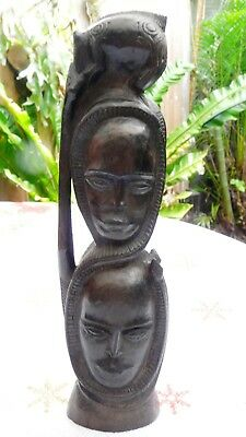 Front & Back Double Headed Carved Statue