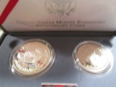 1991 Mount Rushmore 2 Coin Us Silver Commemorative Proof Set  $1 & 50C  B5