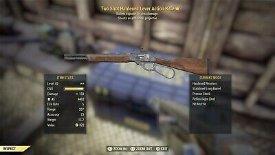 FALLOUT 76 Two Shot EXPLOSIVE Lever Action Rifle (LEGIT) AFTER PATCH (PS4)