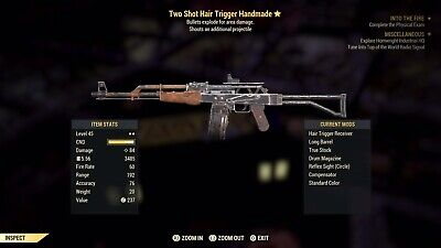 FALLOUT 76 Two Shot EXPLOSIVE Handmade Rifle (LEGIT) AFTER PATCH (PS4)