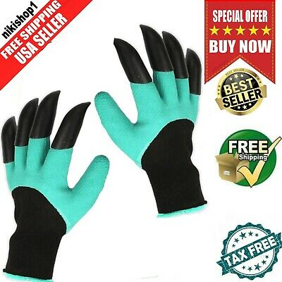 Garden Gloves for Digging Weeding Seeding with Fingertips Claws Quick