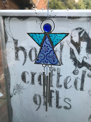 Stained Glass & Lead Blue Angel Suncatcher Delicate Windchimes