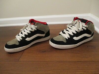 00597eb2de Used Worn Size 10 Vans Skink Mid Skateboard Shoes Black Gray Red White