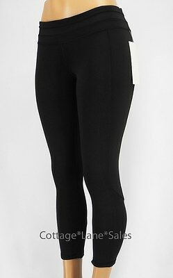077234482 NEW LULULEMON Give Me Qi Crop 6 Black NWT Yoga Run Gym Train FREE SHIP