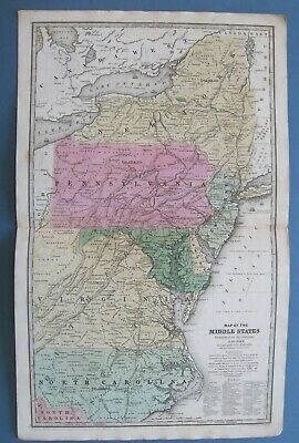 1839 Original Antique Smith Map:Middle States:NY,NJ,PA,DE,MD,VA,NC,DC:Railroads