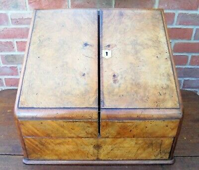 Victorian Walnut Twin Flapped Stationery Box - Compartments