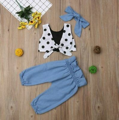 Romper Kids Girls Toddler Tops Pants Outfits 3Pcs Set Clothes Children Clothing