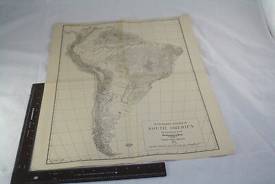 1935 South America Map Physiography 20X24 Original Columbia University Gh  Smith