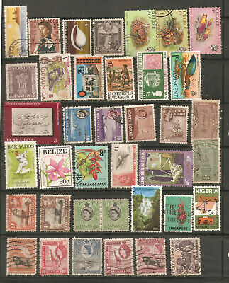 a stock page of mixed used stamps from British Colonies,starting with Malta.