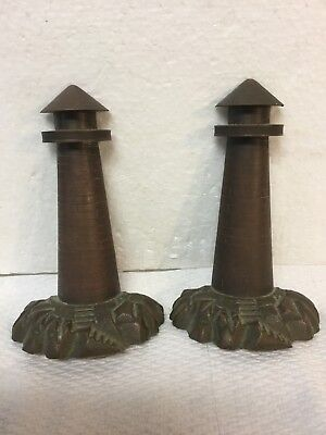 Magnificent Antique Solid Cast Bronze Bookends Lighthouse On Rocks Rocky Coast