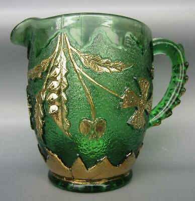 "U. S. Glass DELAWARE Green 3¾"" EAPG Creamer with Gilt Decoration 6463"