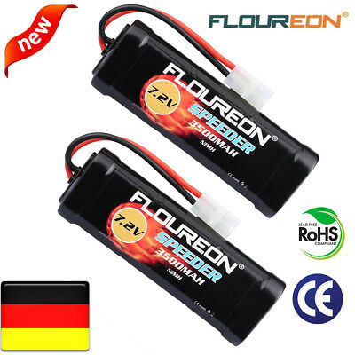 2X Floureon 7.2V 3500mAh Ni-MH Batterie Flat Pack Akku Female-tamiya for RC Car