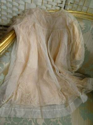 An Exquisite Antique Tulle Embroidered Child's Dress With Pink Silk Petticoat