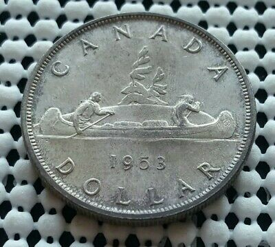 1953 Canada Silver One Dollar Coin Queen Elizabeth II