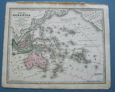 1839 Original Antique Smith Map:Oceania:Capt.Cook,Bounty Mutineers+more events