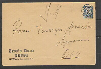 Lithuania 1927 Cover with 25c , error double perfs. extra line of perfs