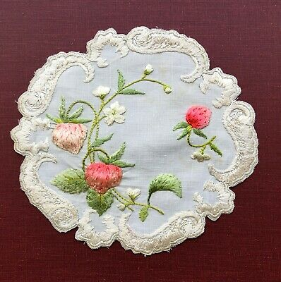 Antique Handmade Silk Society   Embroidered Lace Doily Coaster  3D Strawberries