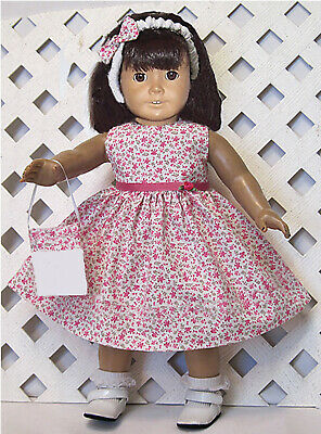 "HANDMADE Doll Clothes Fits 18"" American Girl Doll PINK FLOWERS ON WHITE DRESS"