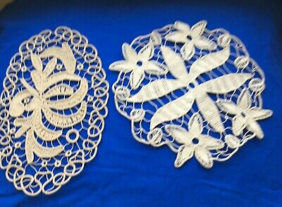 2 Antique  Handmade Romanian Point  Lace  Doily