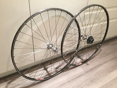 CAMPAGNOLO C-RECORD SMALL FLANGE / FiR ISIDIS VINTAGE ROAD RACE WHEELS 1980s VGC