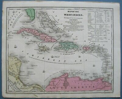 1839 Antique Smith Atlas Map West Indies:w/pro'd Panama Canal,tbl.Colonial Poss.