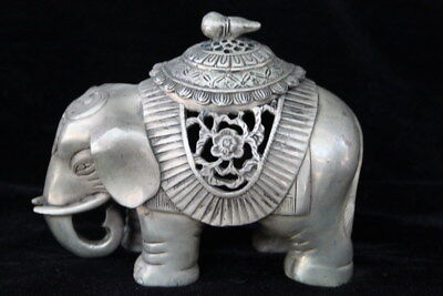 Collectable Handwork Old Miao Silver Carve Auspicious Elephant Incense Burner