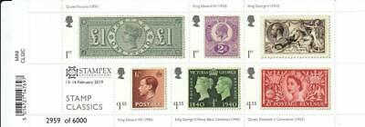 Gb 2019 Stamp Classics Stampex Overprint Miniature Sheet Stamp Set Limited 566
