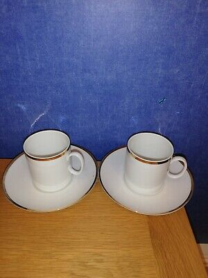 Thomas china Thick Gold Band Cups & Saucers x 2